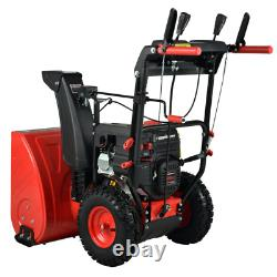 2 Stage Electric Start Gas Snow Blower 24 212cc Self Propelled Wheel Drive