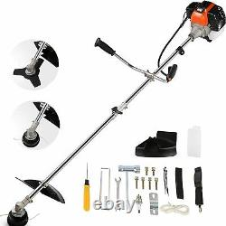 42.7CC Straight Shaft Gas Powered Weed Eater Weed Trimmer, with 2 Detachable Head