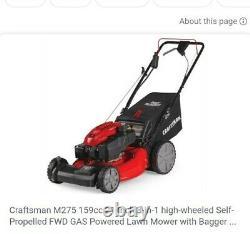 Craftsman M275 159-cc 21-in Automoteur Tondeuse À Gazon À Gaz Électrique Démarrer Nouveau