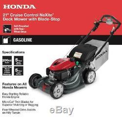 Honda Hrx217vya Autopropulsés Tondeuse 21 Po. Neuf Garantie 5 Ans