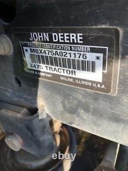 John Deere X475 Tracteur Tondeuse À Gazon 54 Deck Kawasaki 23hp Twin Engine